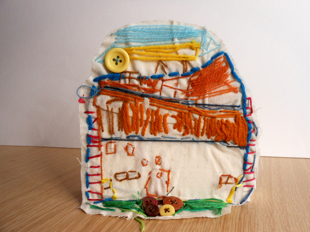 The AccessArt Village Project - Stitched house by Nicholas, St John's Collage School