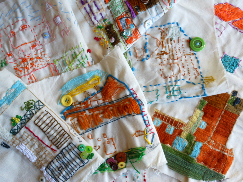The AccessArt Village Project - Embroidered houses from St John's College School