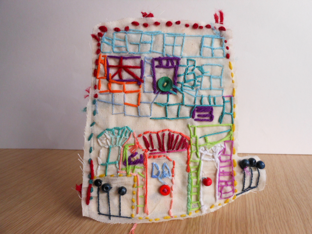 The AccessArt Village Project - Stitched house by Toto, St John's College School