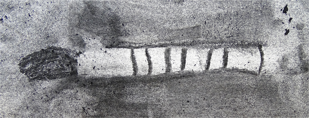 charcoal drawing of a brush