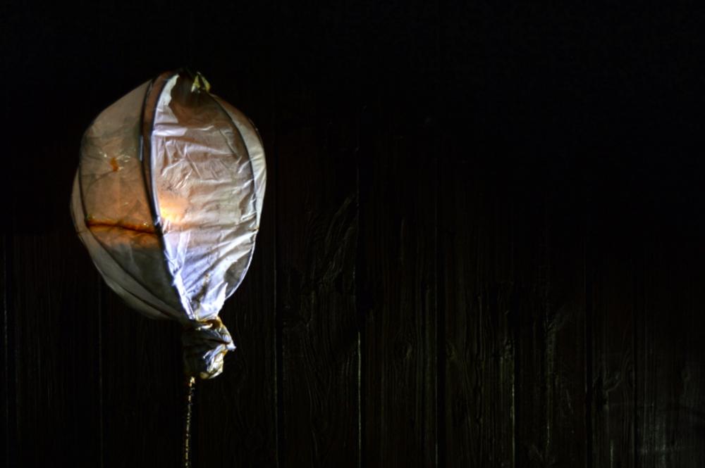 Glowing lantern at Cambridge ArtWorks