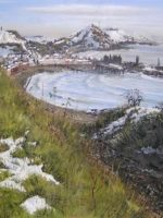 """Aberystwyth from Constitution Hill in March"" oil on canvas by Hester Berry, part of the resource Introducing Landscape by Hester Berry"
