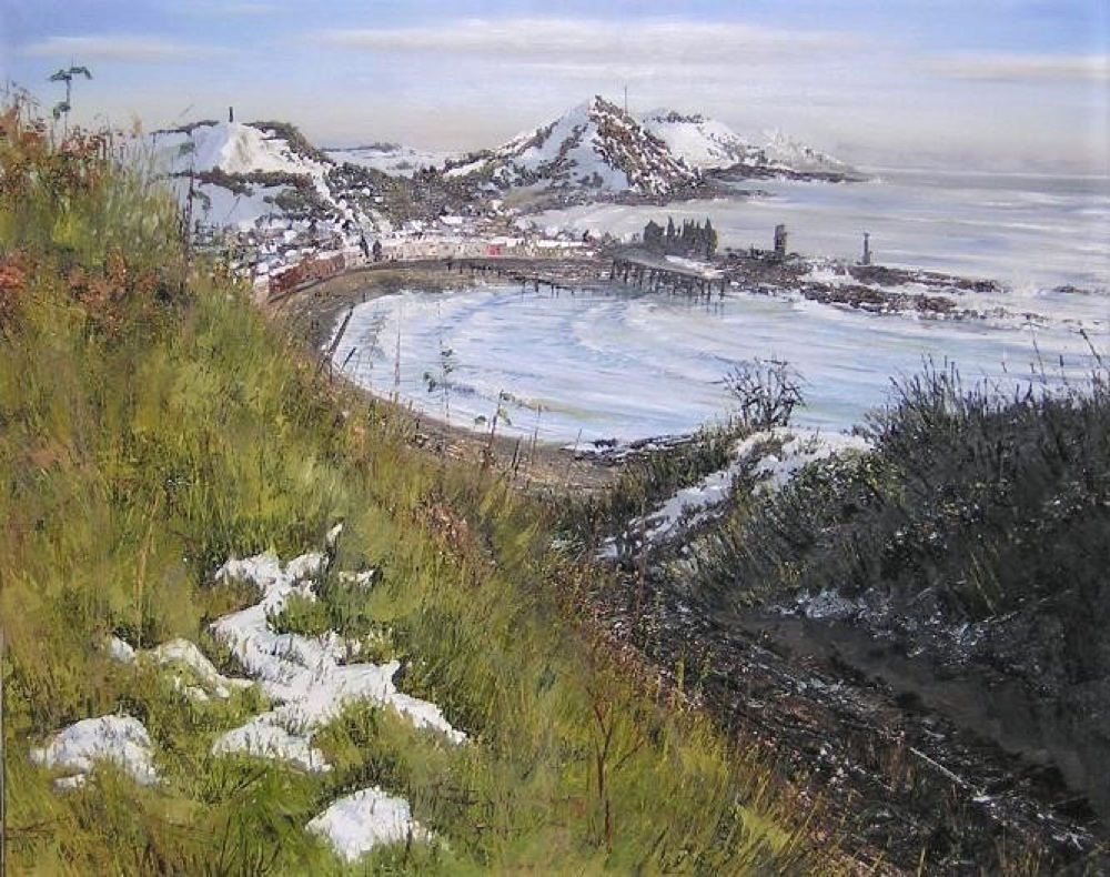 """Aberystwyth from Constitution Hill in March"" oil on canvas by Hester Berry, part of the resource"