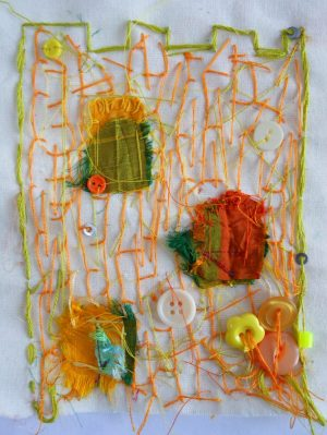 "Andrea Butler explores approaching embroidery/stitching like the processes of making a collage or mark making: ""hanks of wool and shapes cut from fabric can act as an equivalent to paint or coloured paper; stitches are very like the lines and marks you can create with felt tips, markers or coloured pencils."""