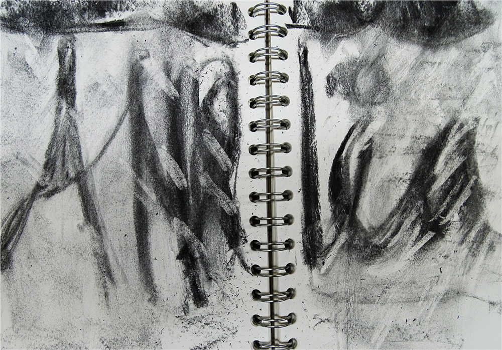 moving the charcoal about the page
