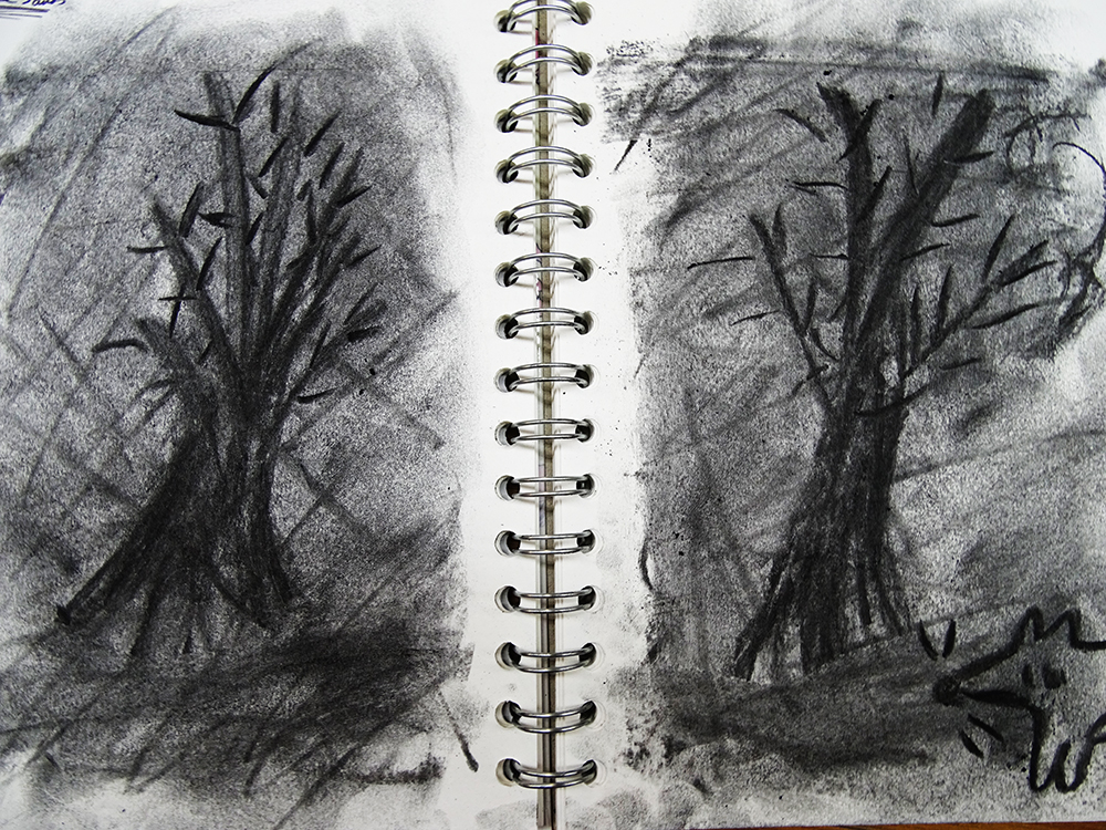 charcoal tree in stages of animation