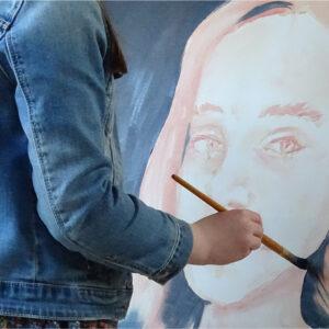Self portrait using acrylic paint