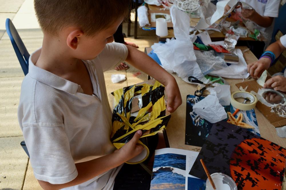 One pupil enjoyed applying plenty of safety tape around his mirror - SC - Ridgefield