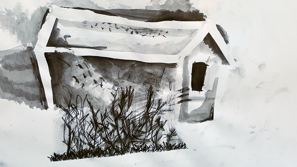 graphite sketch of shed