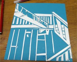 Students create collagraphs inspired by architecture with Paula Briggs.