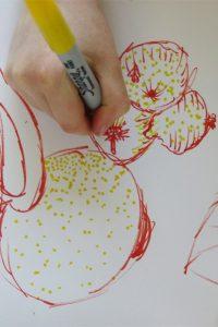 Layering colours ina gestural drawing