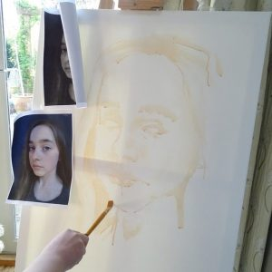 This post shares the process of 11 year old girl as she paints an acrylic self-portrait for a school project inspired by Renaissance art.