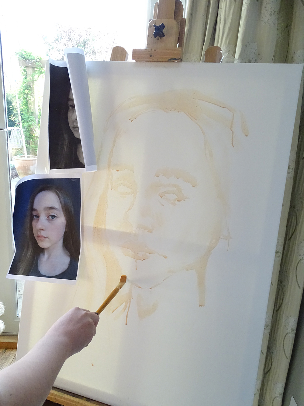 Working from reference material: roughing out acrylic self protrait