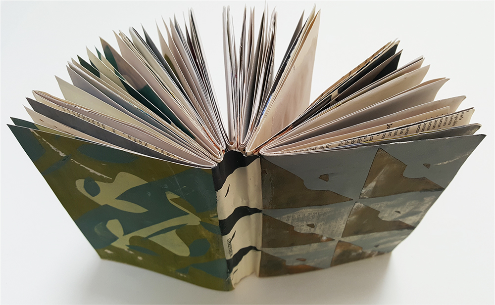 Sketchbook made of screen printed pages