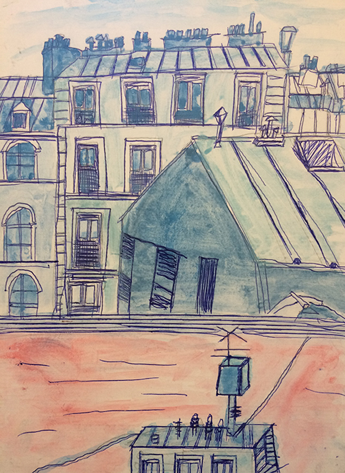 Elle, this is a very strong graphic image. We loved the colours and the structure of the buildings. It's a great composition which really draws the eye around. Great drawing skills all round!