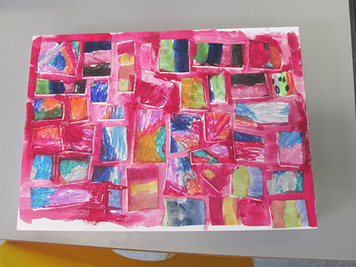 Congratulations Tallulah! We loved the way you created a repetitive pattern and an instinctive composition. We also liked the fact that it looked like other paintings and marks have been incorporated by the use of collage and the bold exploration of colour. Good stuff!