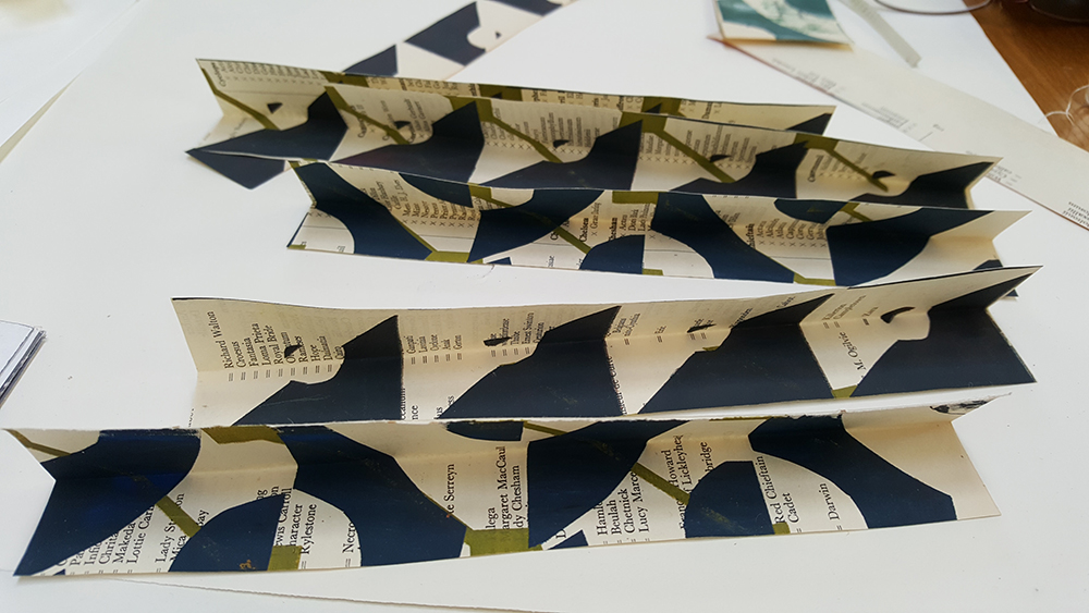 Tear or cut some strips of paper the same height as the book
