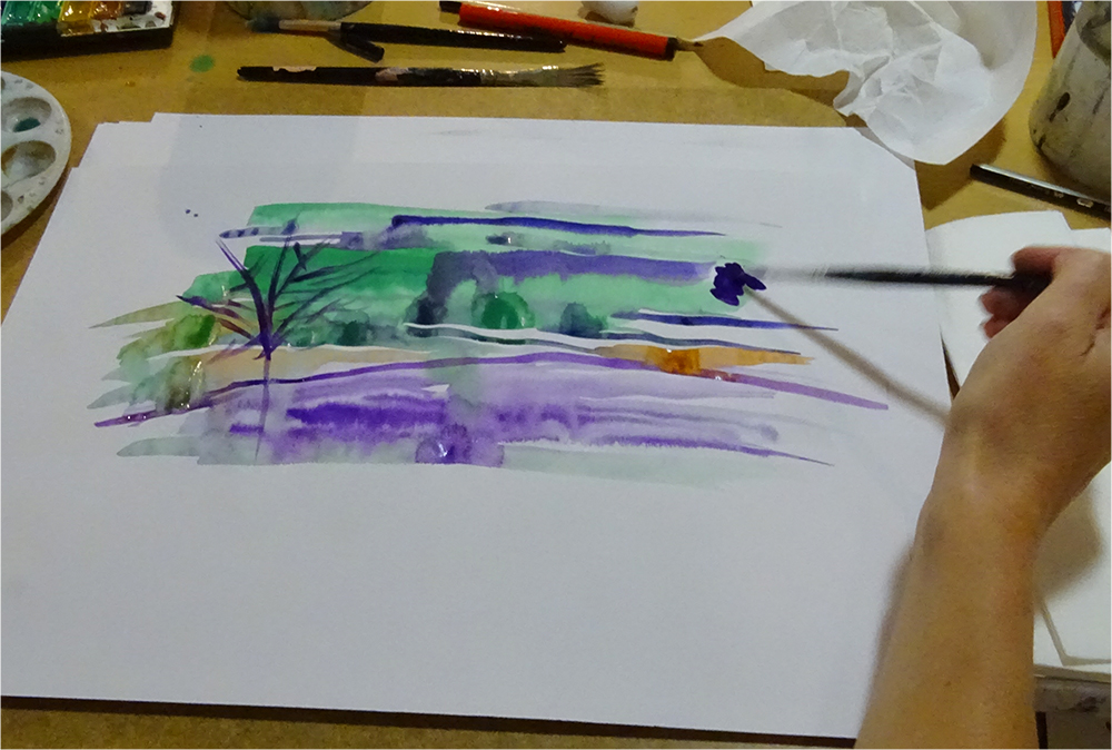 Imagery created using a prompt card: Using Two Colours: wet on dry, wet on wet