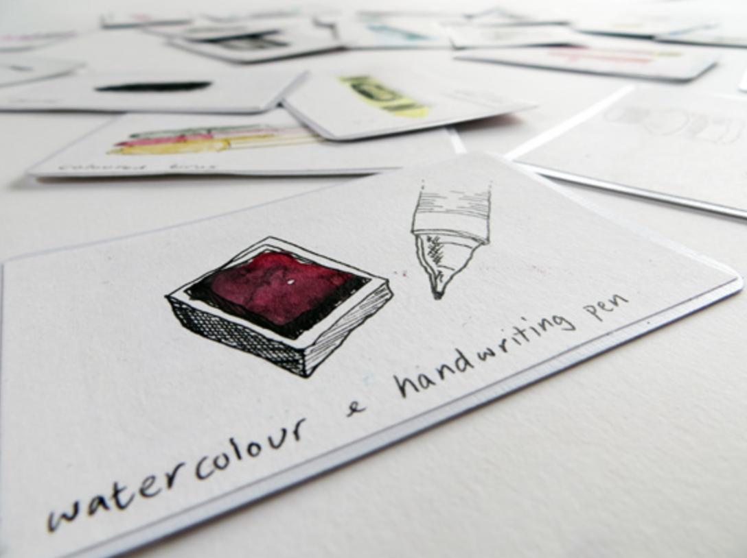 Drawing Materials Sample Cards