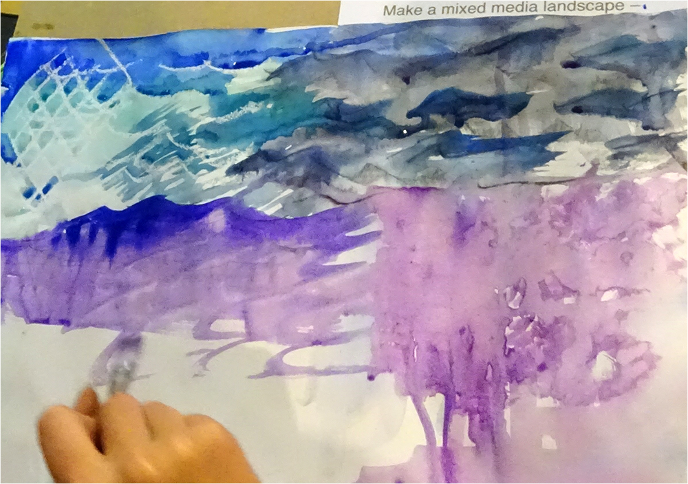 Imagery created using a prompt card: Mixed Media Landscape