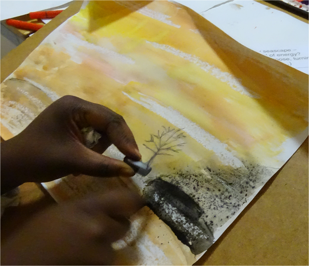 Imagery created using a prompt card: Using Graphite over Watercolour