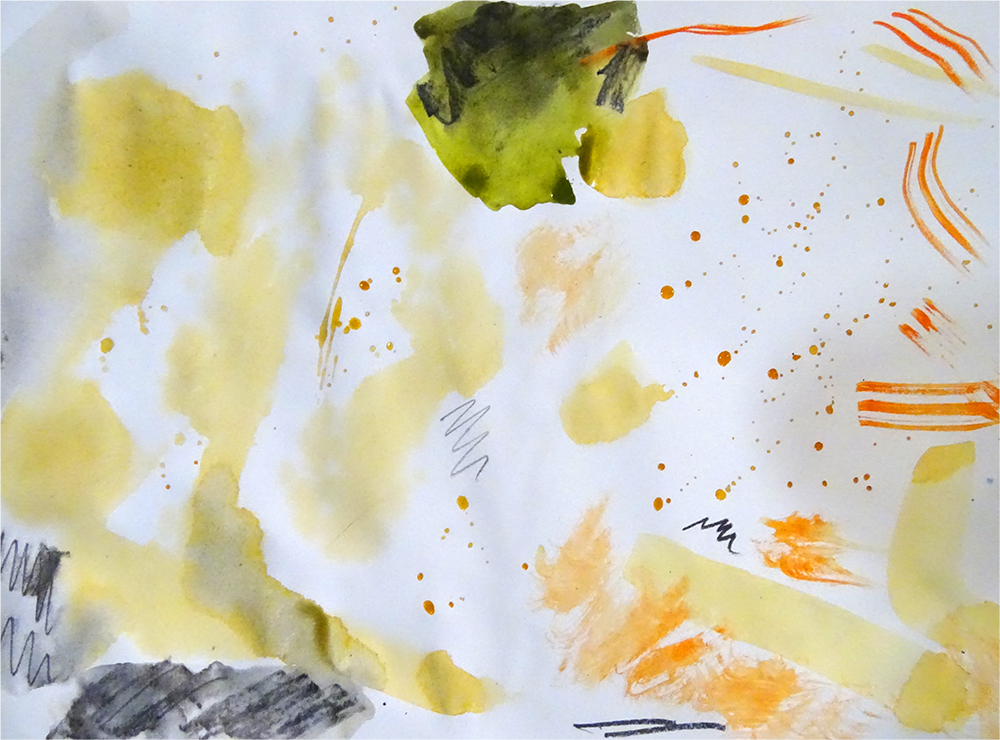 Exploratory mark making and colour mixing