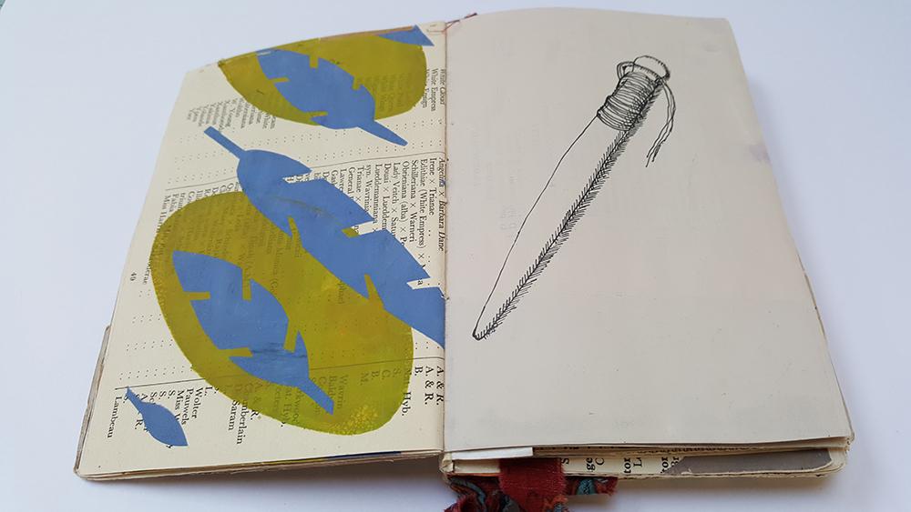 Drawing in the sketchbook