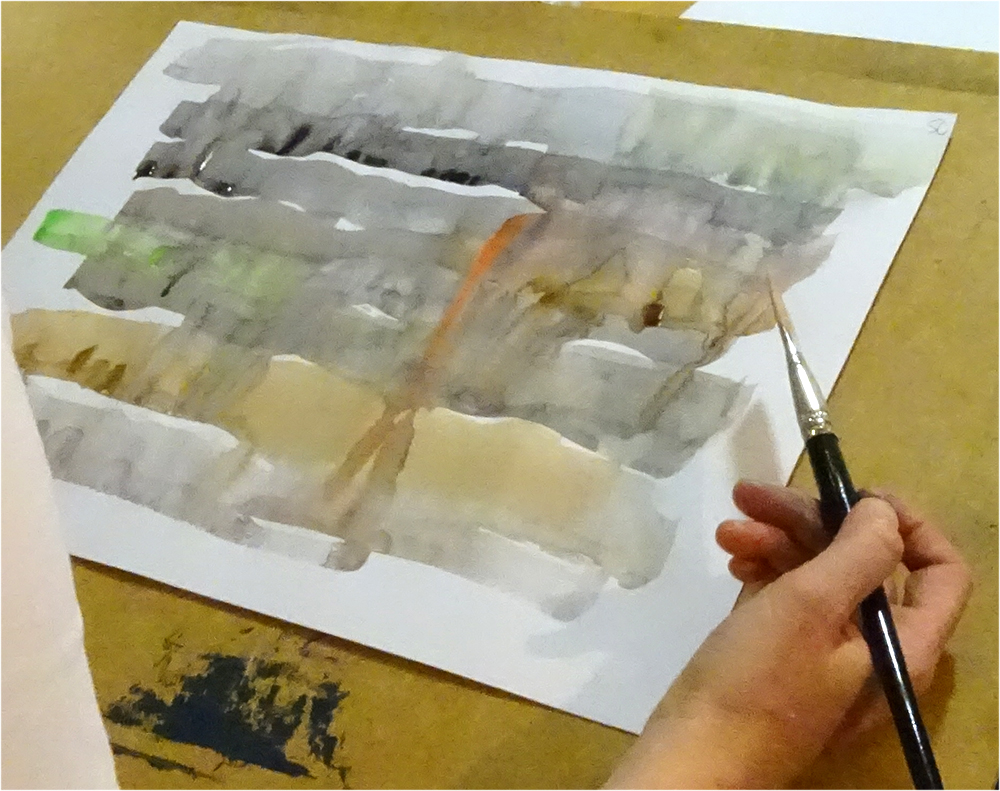 Creating a wash - and remembering that water is a key element of watercolour!