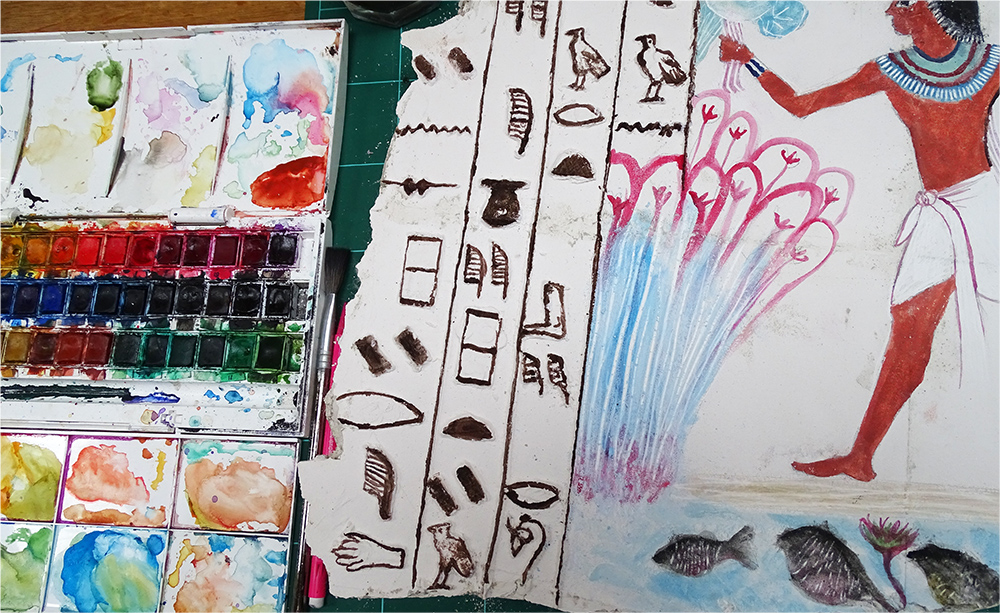 painting with watercolour on the plaster