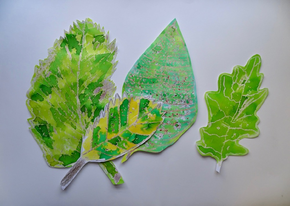 Wax resist leaves by pupils at Dent School, facilitated by Rosie James