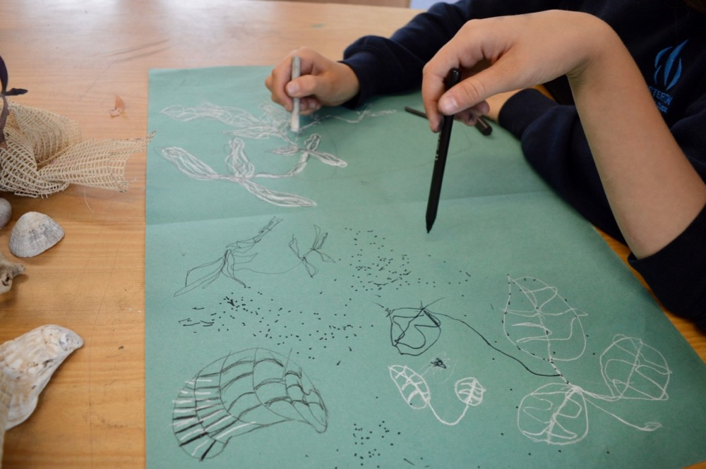 Mark making - warm up at Chesterton Community College - Drawing for Mindfulness