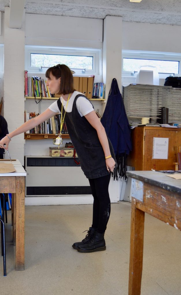Rebecca Gardner leads students in guided drawing exercises at Chesterton Community College, Cambridge