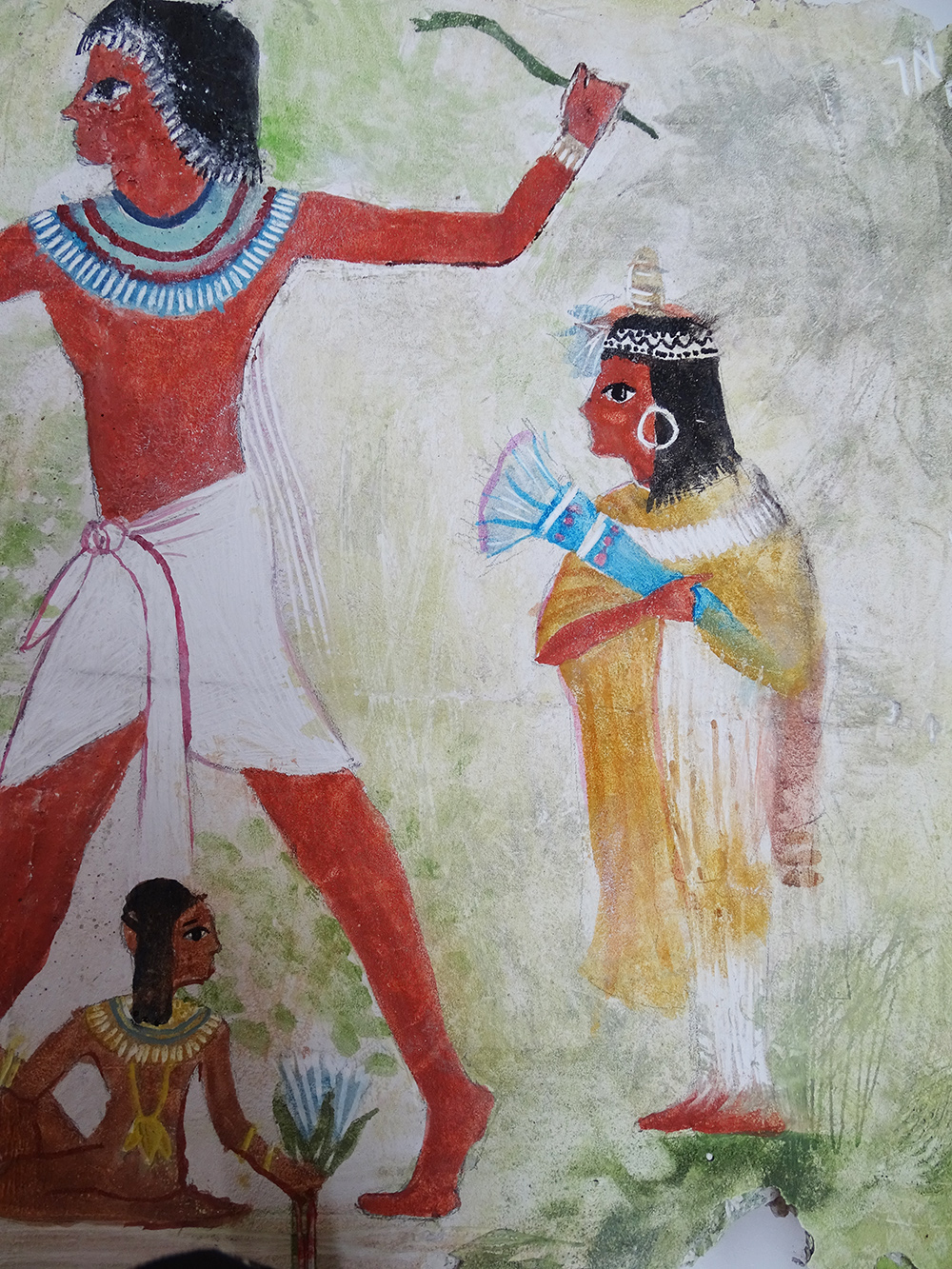 detail of wall painting inspired by Nebamun hunting in the marshes, Nebamun's tomb-chapel