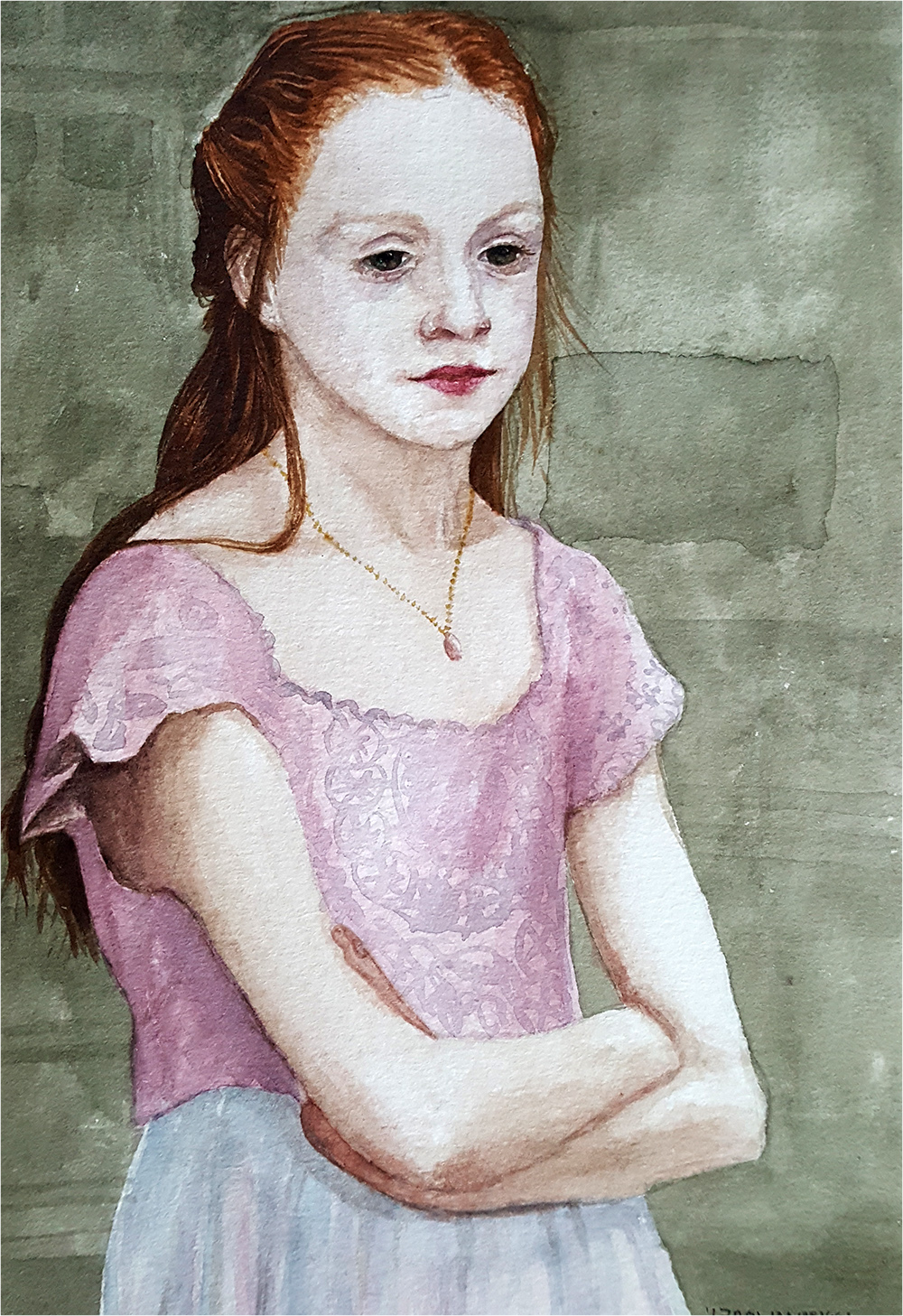 Finished watercolour portrait
