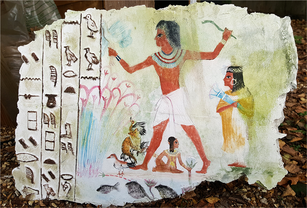 Wall painting inspired by Nebamun hunting in the marshes, Nebamun's tomb-chapel