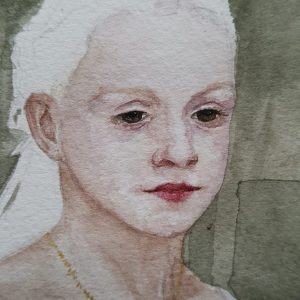 Read an interview with a young artist, aged 12, who worked to build a watercolour painting of her friend.