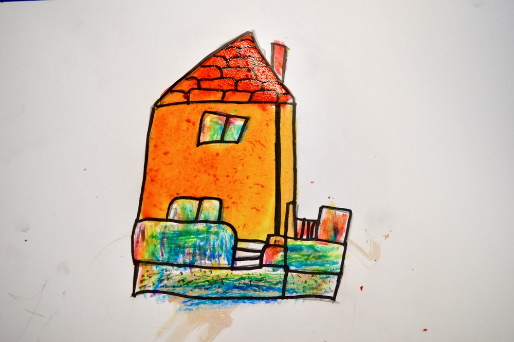 Finished house with Brusho and rainbow crayons - Mansfield Library - SC