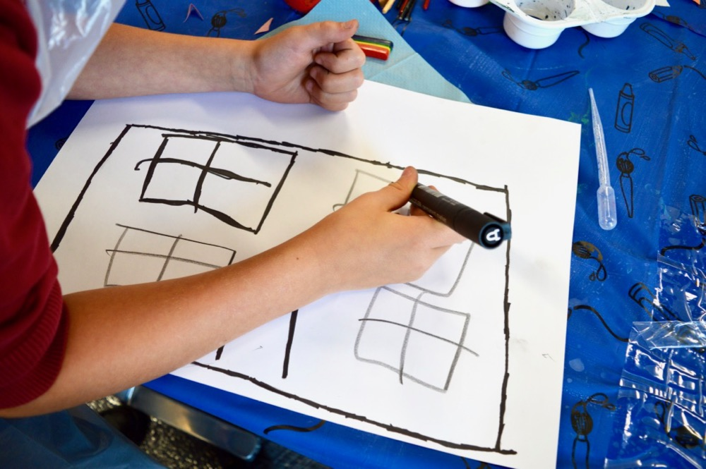 Drawing home - following guided drawing exercise by Sheila Ceccarelli, visualising home