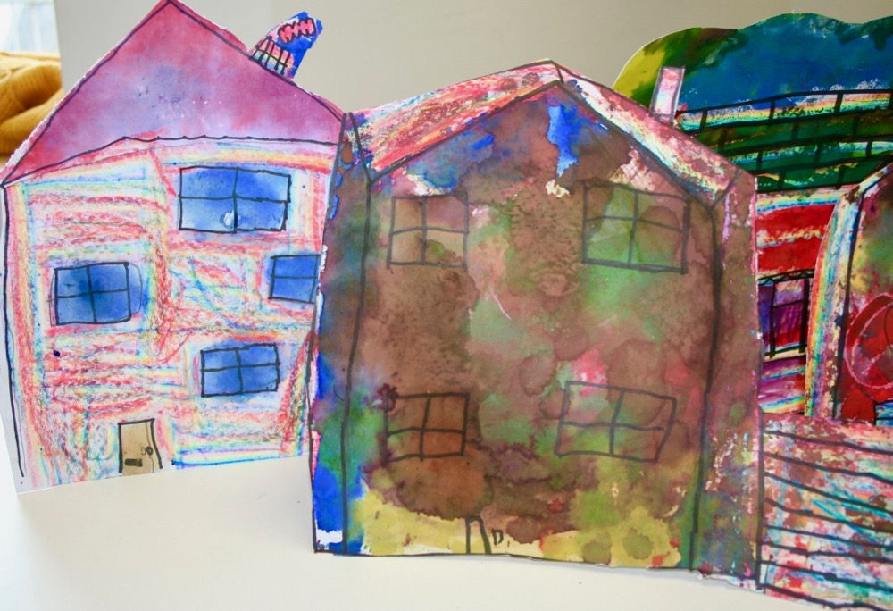 Collection of Inky, waxy houses by pupils of Berry Hill Primary School