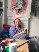 Cathy Mills in her studio