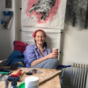 Cathy Mills in her studio