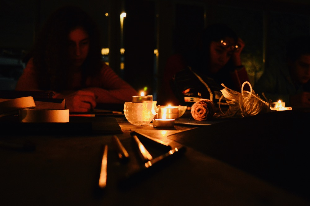 Still life elements in candle light: string- Exp teenagers - SC