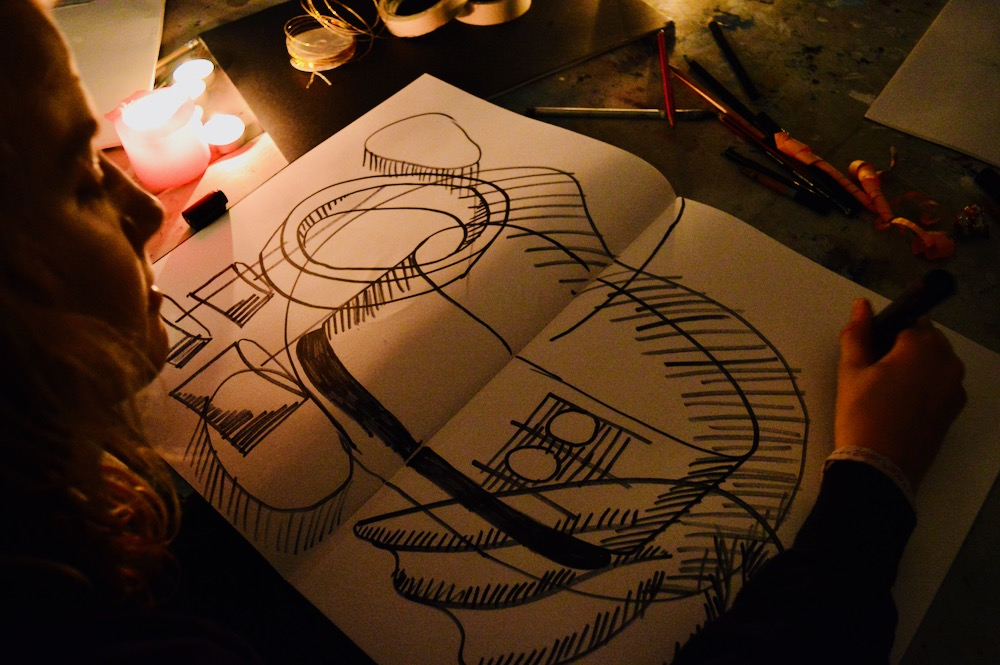 Compositions starts to evolve as drawings are built on drawings- SC