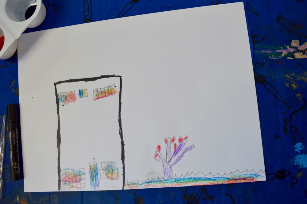 'Home sweet home' in permanent makers and rainbow crayons - Mansfield Central Library - SC
