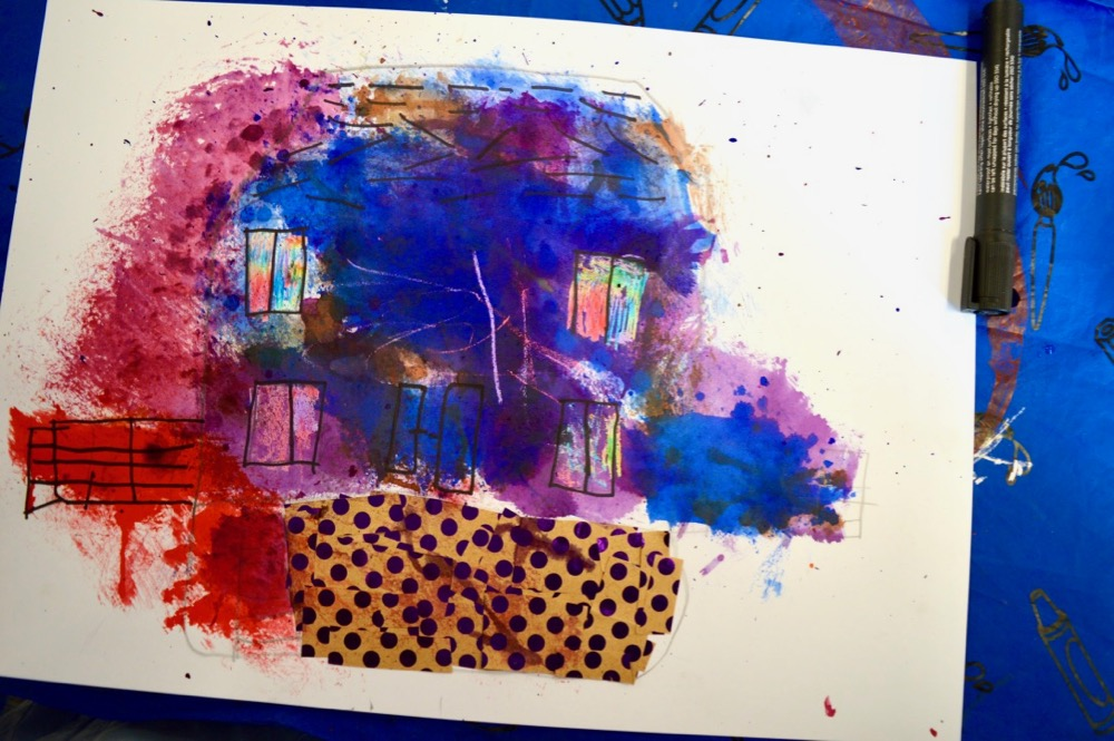 Experimenting with mark making, collage and colour Mansfield Central Library - SC