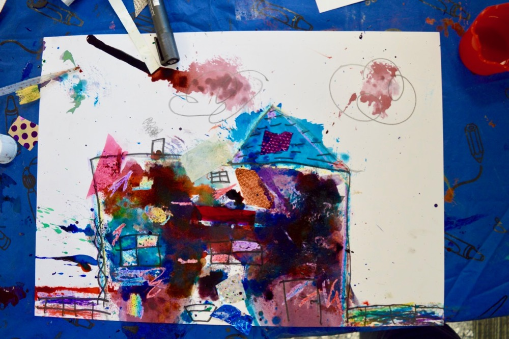 Experimenting with mark making, colour and collage Mansfield Central Library - SC