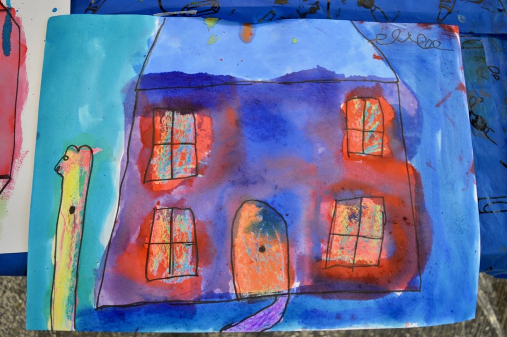'Home' in wax resist with Brusho and Rainbow crayons - SC Mansfield Library