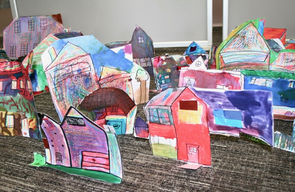 The finished 'Inky Village' by Berry Hill pupils in Mansfield Library