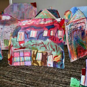 Using wax resist to create fabric houses