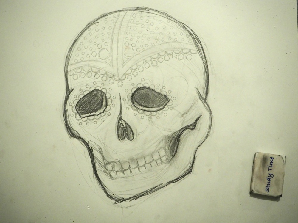 Pencil Skull with Dots